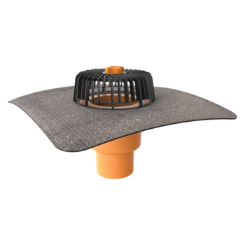 Dachgully mit Bitumen-Manschette, senkrechter  senkrechter