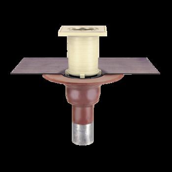 Halter für Rohr-Schneefänger mit integrierter Manschette aus PVC-Kunststoffdichtungsbahn  Halter für Rohr-Schneefänger