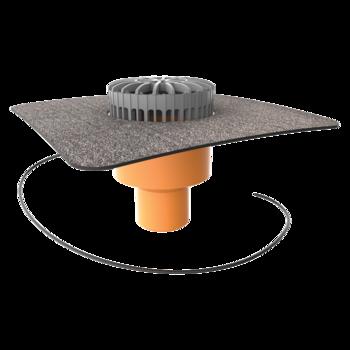 Dachgully mit Bitumen-Manschette, horizontaler, beheizbar  horizontaler, beheizbar