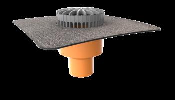 Terrassengully mit Bitumen-Manschette, horizontaler  horizontaler