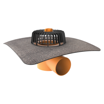 Dachgully mit Bitumen-Manschette, horizontaler  horizontaler