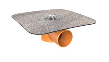 Balkongully mit Bitumen-Manschette, horizontaler