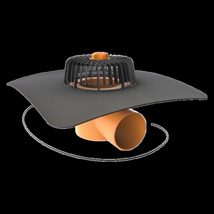 Dachgully mit der Sondermanschette, horizontaler, beheizbar
