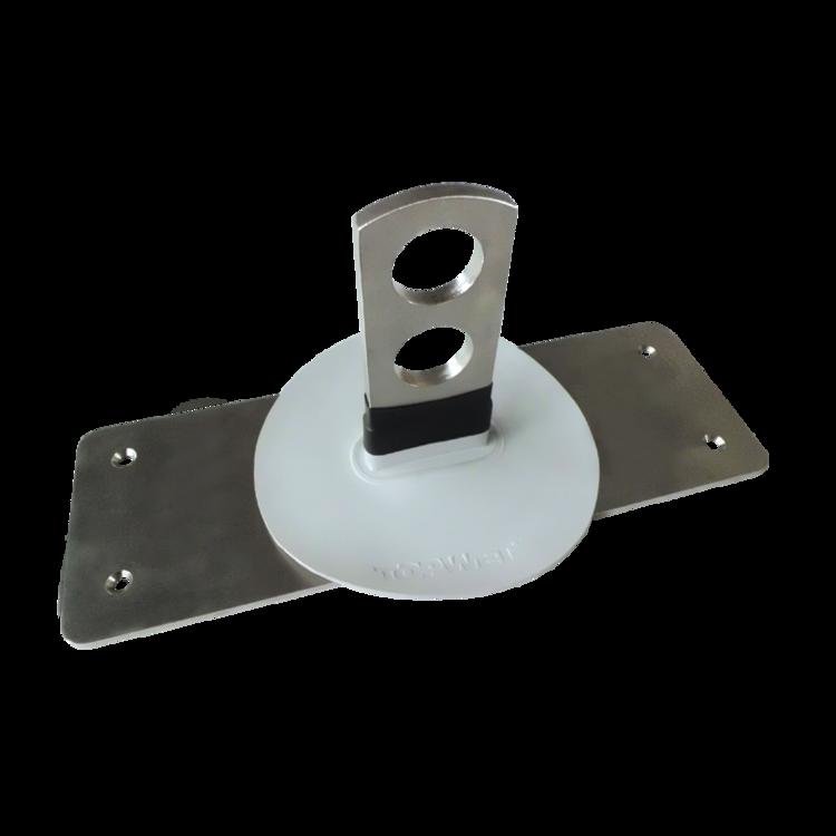 Halter für Rohr-Schneefänger mit integrierter Manschette aus PVC-Kunststoffdichtungsbahn