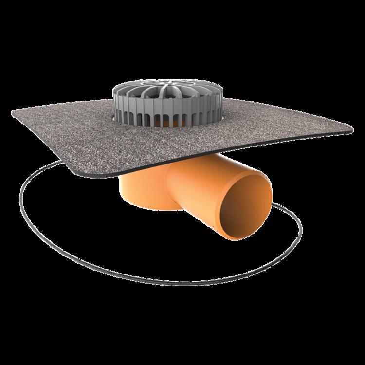 Terassengully mit Bitumen-Manschette, horizontaler, beheizbar