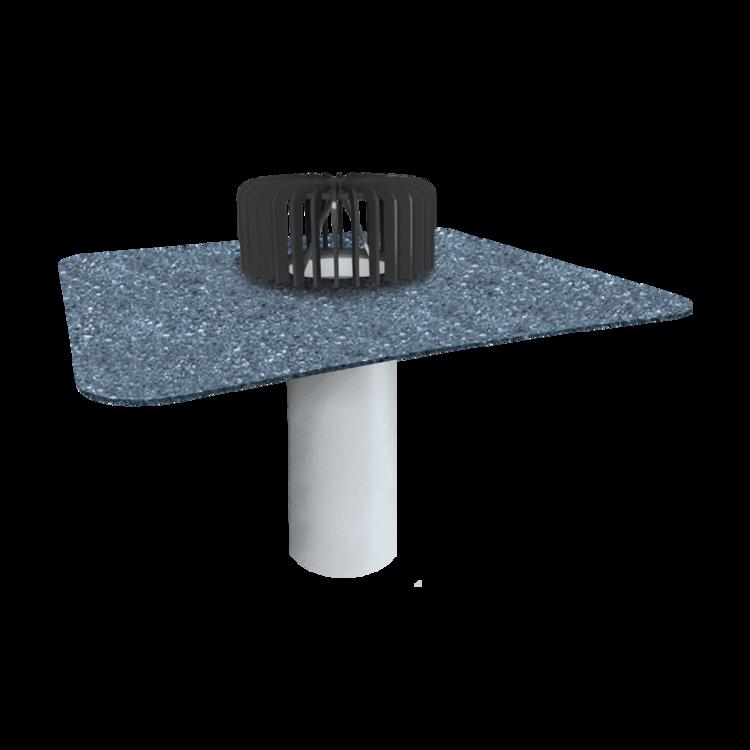 Einwandiger Dachgully für Dachflächen ohne Wärmedämmschicht mit Bitumen-Manschette