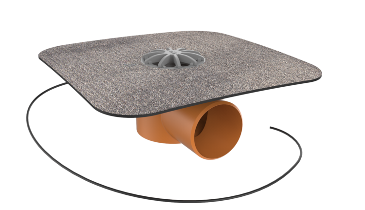 Balkongully mit Bitumen-Manschette, horizontaler, beheizbar
