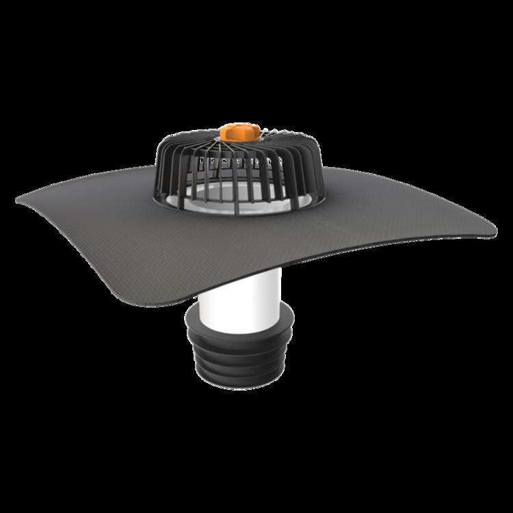 Sanierungsgully für Dachflächen ohneWärmedämmschicht mit der Sondermanschette